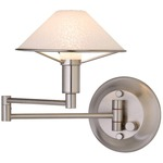 Aging Eye Glass Shade Swing Arm Wall Light - Satin Nickel / Satin White