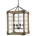 Eufaula Lantern - Old Iron / Natural Wood