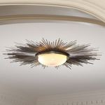 Sunburst Ceiling Light Fixture - Nickel / Frosted