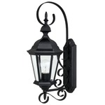 Carriage House Outdoor Wall Sconce With Top Scroll - Black / Clear