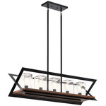 Morelle Outdoor Linear Chandelier - Black / Clear