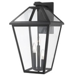 Talbot 3 Light Outdoor Wall Sconce - Black / Clear