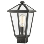 Talbot Medium Post Mount with Square Base - Black / Clear