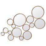 Framed Circles Mirror - Antique Gold