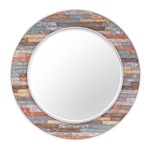 Colorful Waxed Plank Mirror - Walnut