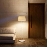 Warm Aluminum Shade Floor Lamp -  / Off White Matte Lacquer