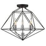 Geo Semi Flush Celling Light - Chrome / Matte Black