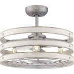 Gulliver Ceiling Fan with Light - Galvanized Steel / Galvanized