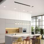 Drip Linear Multi Light Ceiling Mounted Pendant - Ebony Black / Opal
