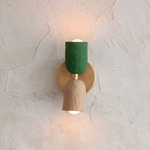 Up Down DC Wall Sconce - Brass / Green / Tan