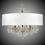 Venetian Shaded Chandelier - Polished Brass / Crystal