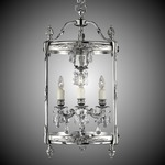 Lantern Tall Round Pendant - Silver / Clear