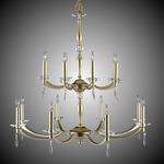 Kensington Two Tier Chandelier - Brass / Crystal