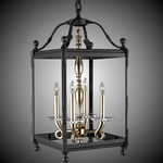 Lantern Tall Square Pendant - Old Bronze / Clear