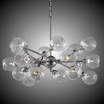 Magro 18 Globe Chandelier - Pewter / Clear