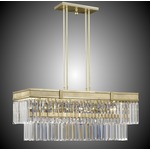 Valencia Brass Linear Chandelier - True Brass / Clear