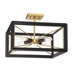 Sable Point Semi Flush Ceiling Light - Gold / Black