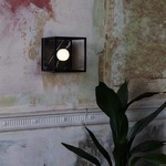 Caged Wall Sconce - Satin Black / Black Marble
