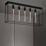 Caged 5.0 Ceiling Light Fixture - Satin Black / White Marble