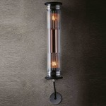 In The Tube Mesh Indoor / Outdoor Wall Sconce - Black / Copper Reflector / Silver Mesh