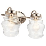 Janiel Bathroom Vanity Light - Polished Nickel / Clear