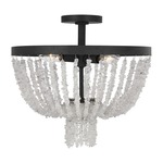 Leon Semi Flush Ceiling Light - Dark Weathered Zinc / Clear