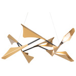 Plume Square Pendant - Black / Soft Gold