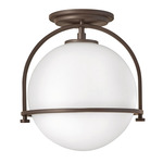 Somerset Semi Flush Ceiling Light - Buckeye Bronze / Etched Opal