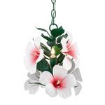 Hibiscus Mini Pendant - Green / Glossy White