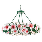 Hibiscus Chandelier - Green / Glossy White