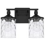 Colton Bathroom Vanity Light - Matte Black / Clear Water