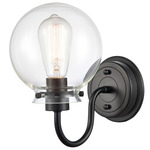 Olivia Wall Sconce - Matte Black / Clear