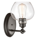 Amina Wall Sconce - Matte Black / Clear