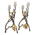 Butterfly Ginkgo Candle Holders - Oxidized Brass