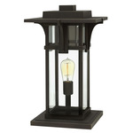 Manhattan 12V Outdoor Pier Mount Lantern - Oil Rubbed Bronze / Clear Beveled
