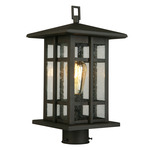 Arlington Creek Post Light - Matte Bronze / Clear Seedy