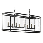Argand Linear Chandelier - Antique Black / Clear Seeded