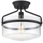 Hank Semi Flush Ceiling Light - Matte Black / Clear