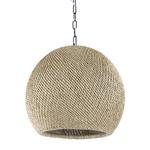 Augustine Outdoor Sphere Pendant - Matte Black / Seagrass Wicker
