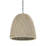 Augustine Outdoor Cone Pendant - Matte Black / Seagrass Wicker