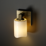 Modular Cylinder Melted Rim Candlearia Wall Sconce - Antique Brass / Cream