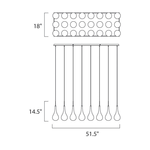 Larmes LED Linear Suspension - Polished Chrome / Clear