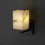 Montana Square Broken Rim Lumenaria Wall Sconce - Dark Bronze / Faux Alabaster