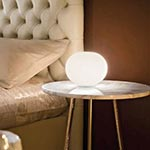 Glo-Ball Basic Zero Table Lamp - Grey / White Glass