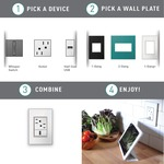 Real Material 1-Gang 3-Module Wall Plate -  / Mirror White