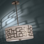 Alecia's Necklace 3 Light Pendant - Brushed Nickel / Etched Opal