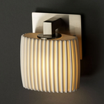 Modular ADA Oval Wall Sconce - Brushed Nickel / Pleats Porcelain