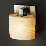 Modular Oval Limoges Wall Sconce - Brushed Nickel / Waves Porcelain