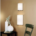 Meridian Wall Sconce - Brushed Nickel / White Linen