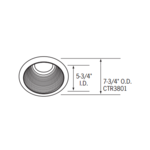 CTR3801 6 Inch Tapered Black Baffle Downlight Trim -  /